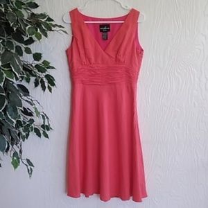 Coral ruched waist A-line sleeveless dress petite